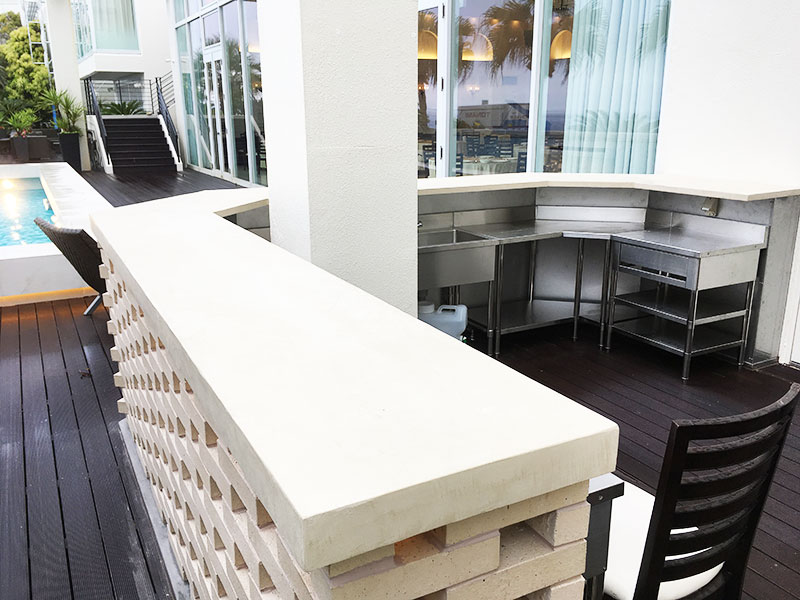 迎賓館(静岡)のカウンター1|モールテックス施工事例