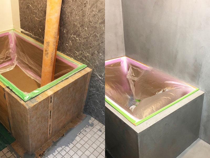 防水シートを用いた施工4(浴室ビフォーアフター)|モールテックス施工事例